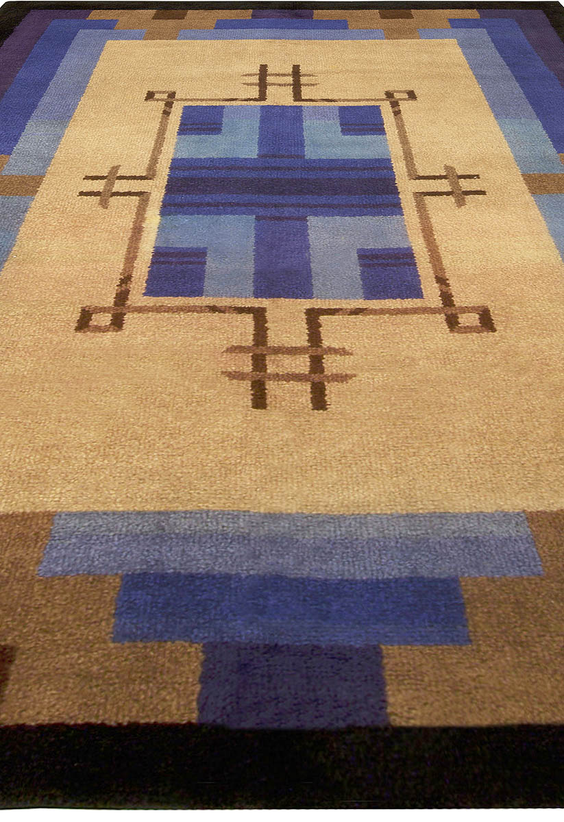 French Art Deco Midcentury Blue and Beige Handwoven Wool Rug BB5010