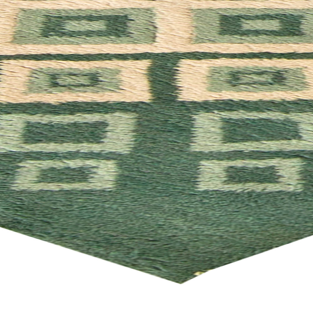 French Art Deco Green and White Handwoven Wool Rug by Paule Leleu BB6038