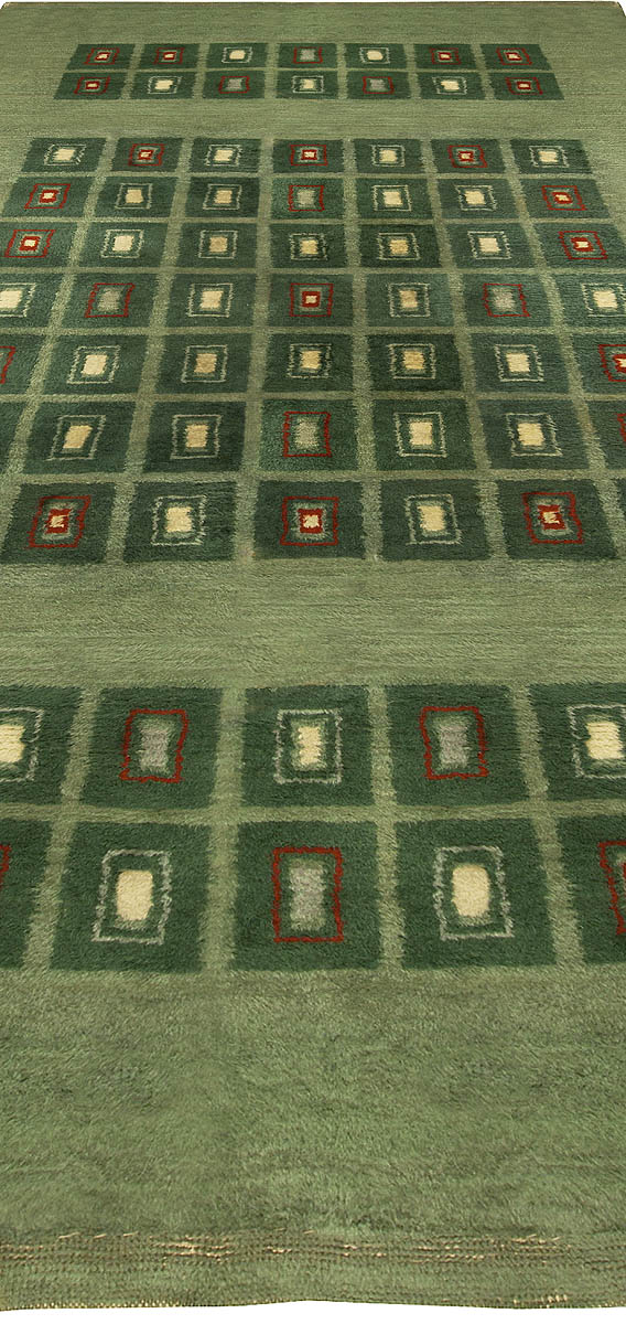 Vintage French Art Deco Green, Ivory and Red Handwoven Wool Rug BB5048