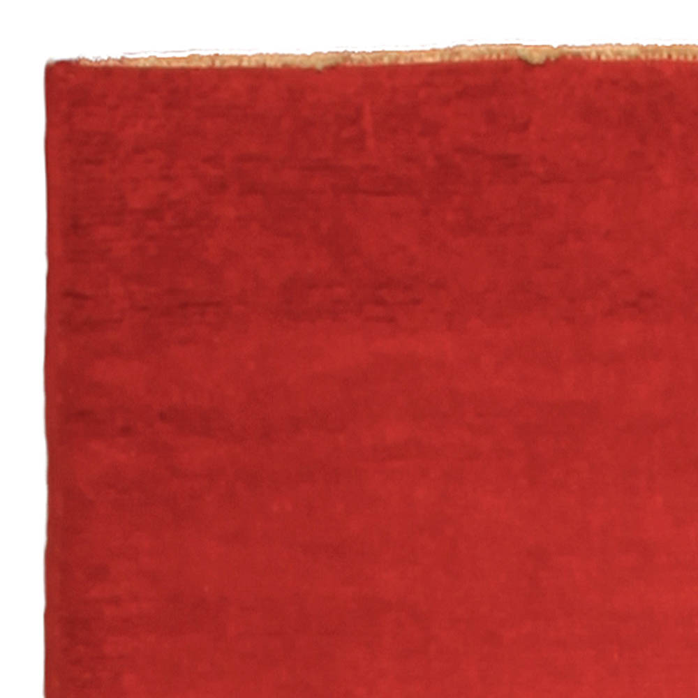 Vintage French Art Deco Red Crimson Hand Knotted Wool Rug BB4850