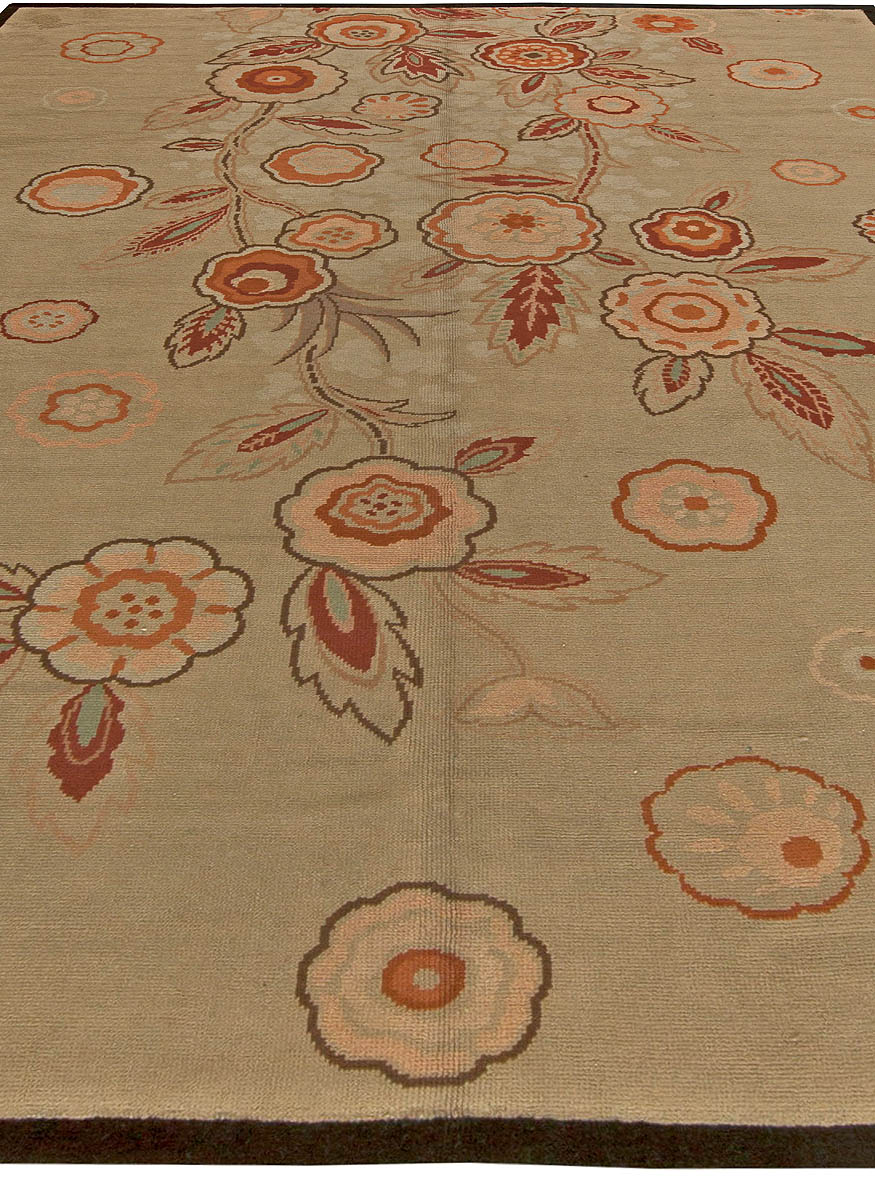 Art Deco Floral Brick Red, Orange and Taupe Handwoven Wool Rug BB6032