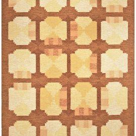 Mid-century Swedish Yellow & Brown Flat-Woven Rug BB4790