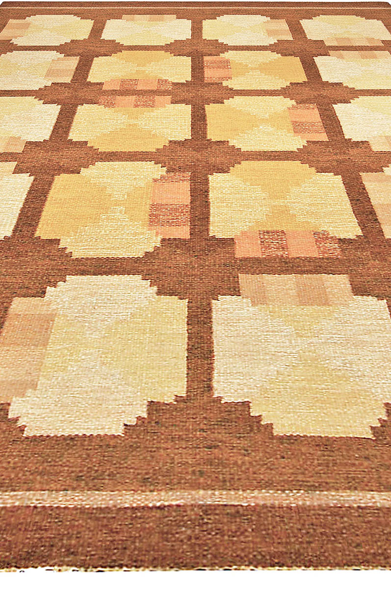 Mid-century Swedish Yellow & Brown Flat-Woven Rug BB4790