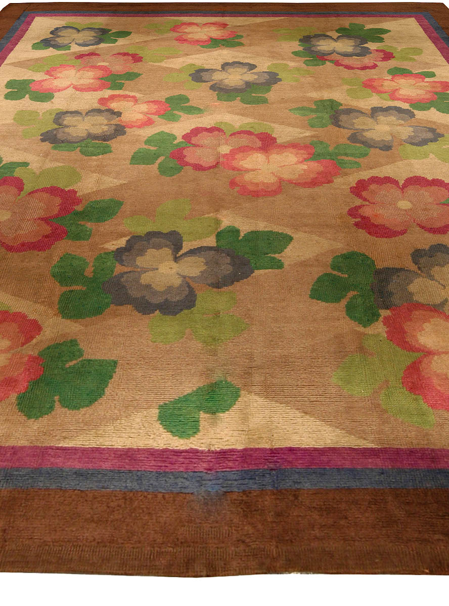 Vintage French Art Deco Green, Beige, Pink and Blue Floral Rug BB4340
