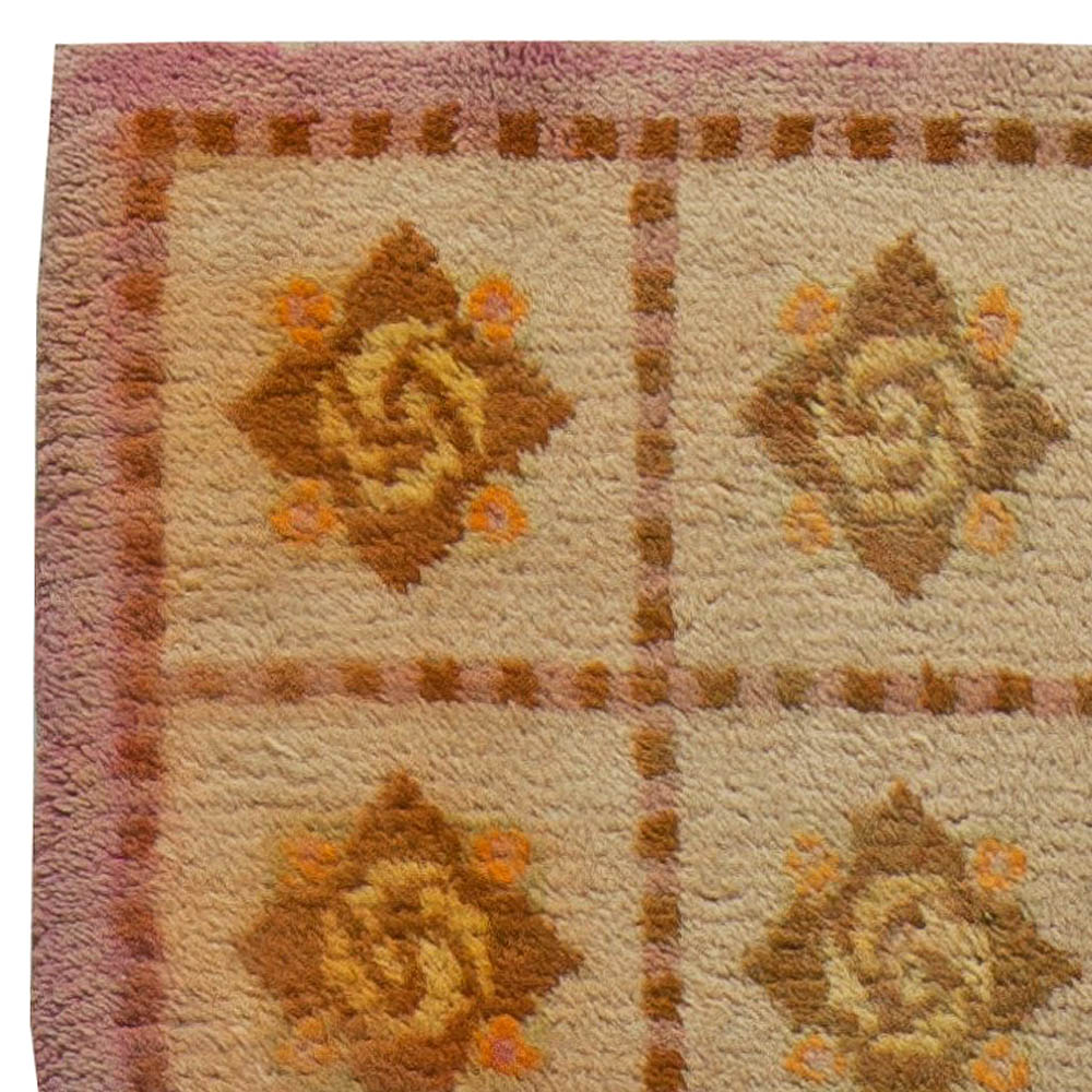 Vintage French Art Deco Handwoven Wool Carpet BB5655