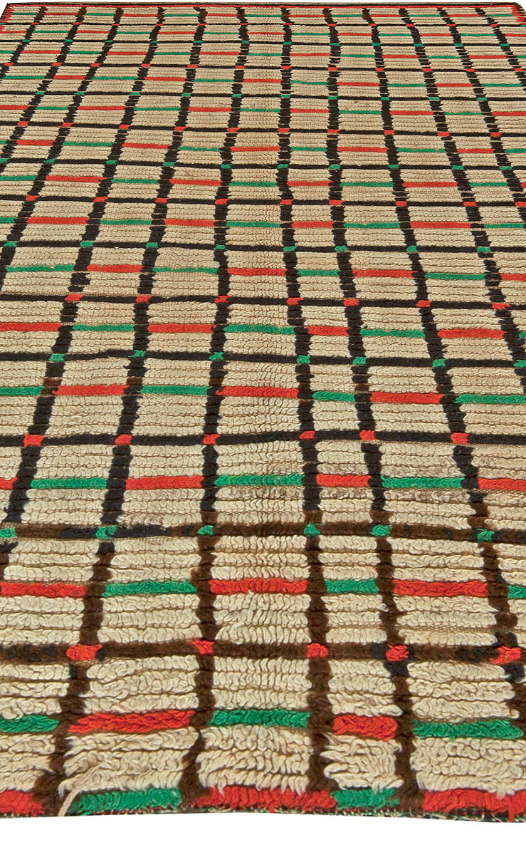 Moroccan Bright Red, Green and Brown Handwoven Wool Rug BB5901