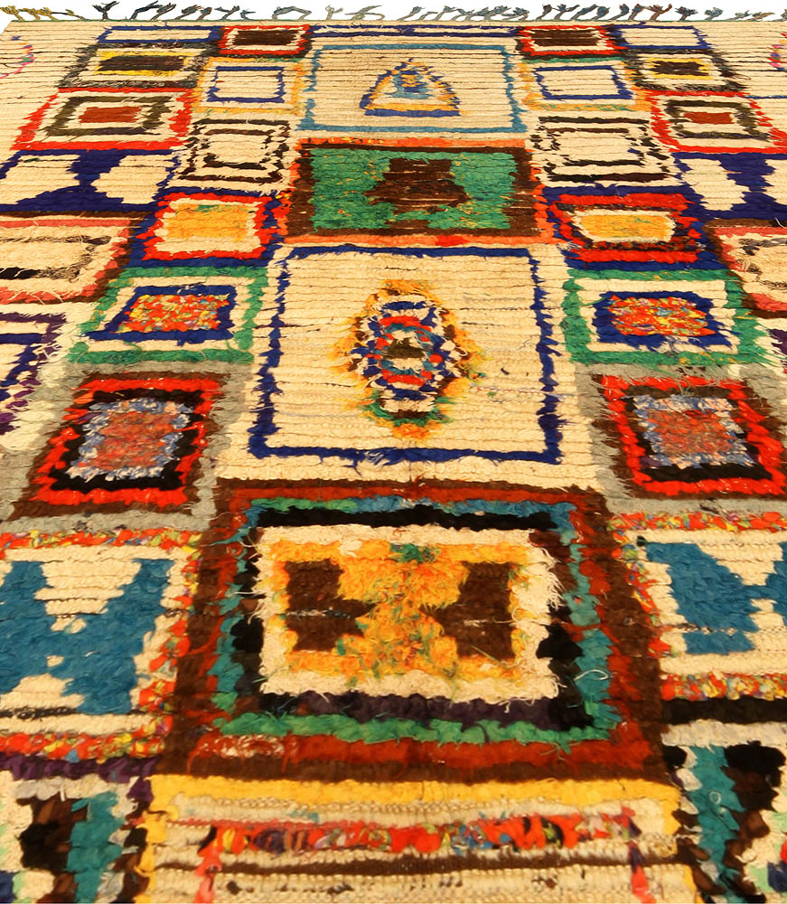 Colorful Vintage Handmade Moroccan Cotton Rug BB5145