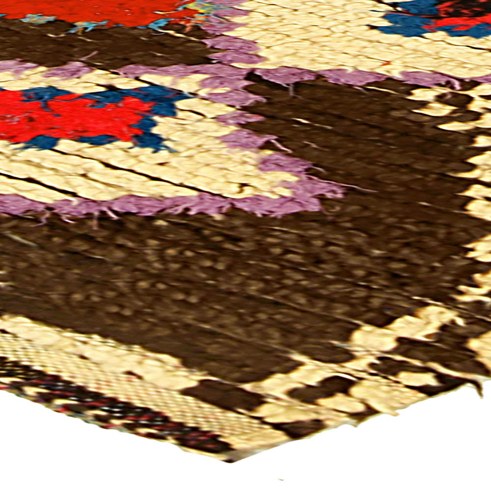 Vintage Tribal Hand-woven Moroccan Rug in Cream, Brown, Pink, Red, and Blue BB5137