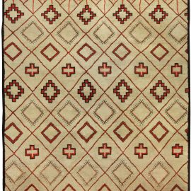 Vintage Hand-knotted Moroccan Natural Wool Rug with Geometric Design BB5076