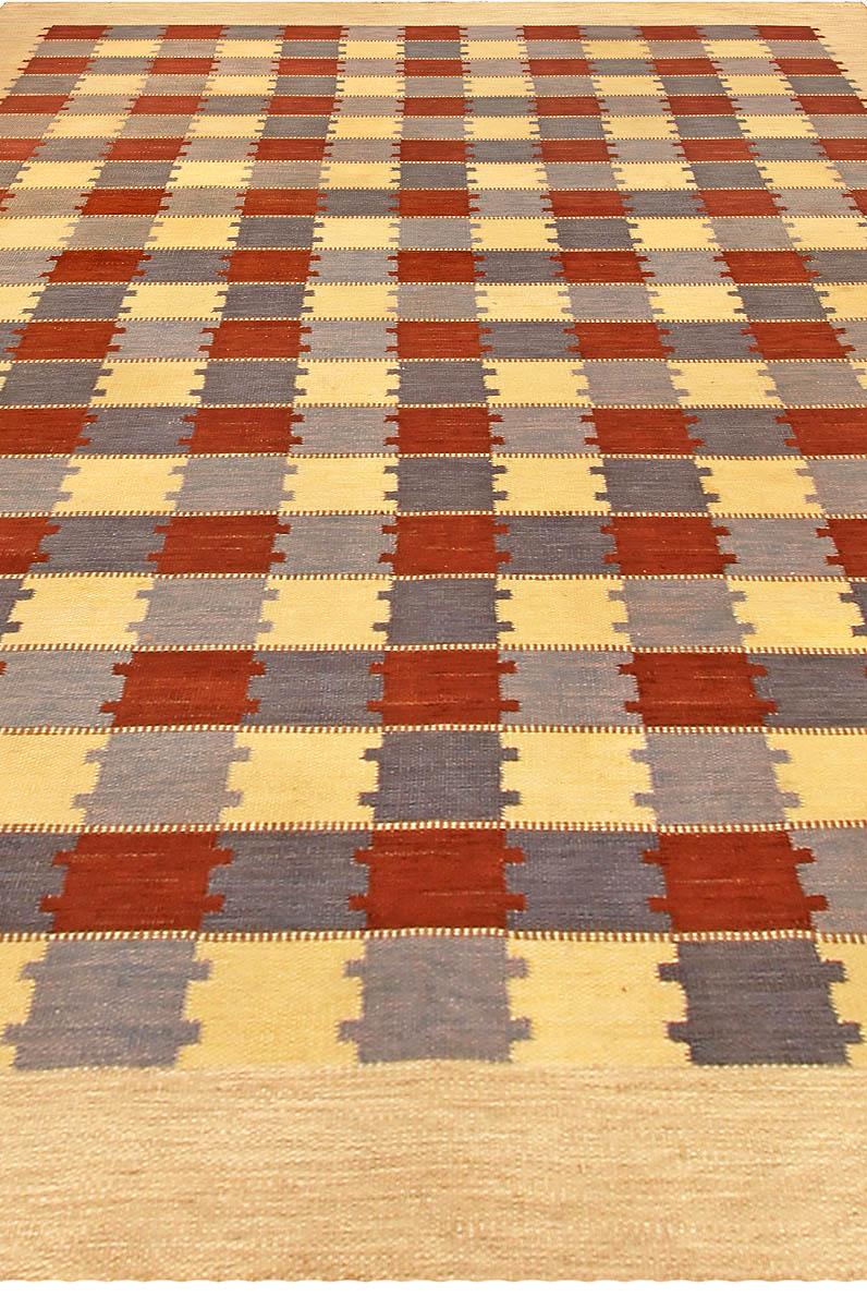 Swedish Checkerboard Pattern Flat-Weave Rug BB4852