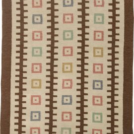 "Handmade Mid-Century Swedish Wool Rug with Geometric Design. Woven initials and date ""GO 1952"" BB6319"