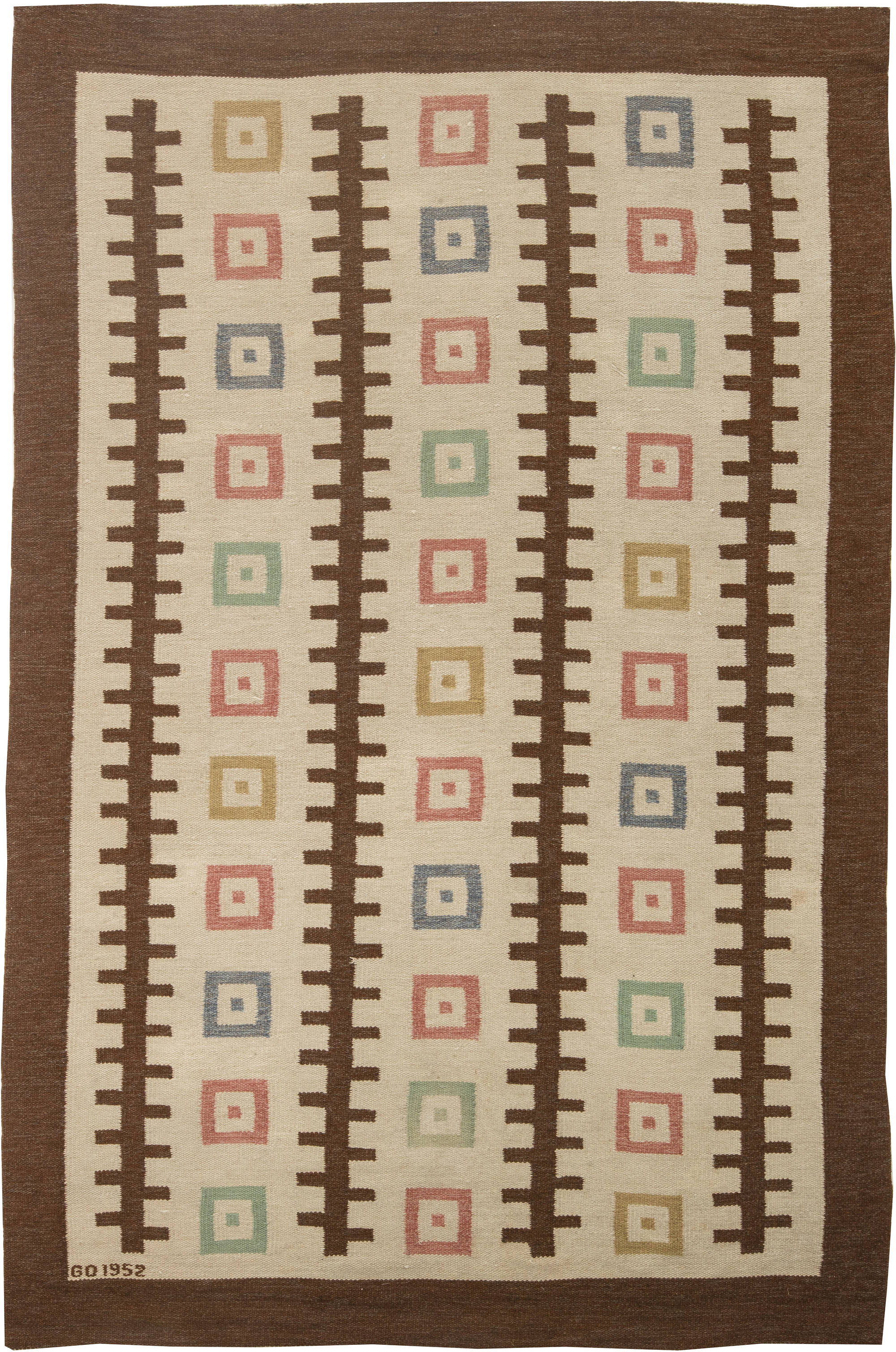 Vintage Swedish Flat weave Rug by GO BB6319