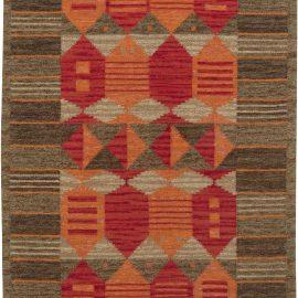 Vintage Swedish Flat weave Rug by Karin Jönsson    (Klockargården Hemslöjd) BB6427