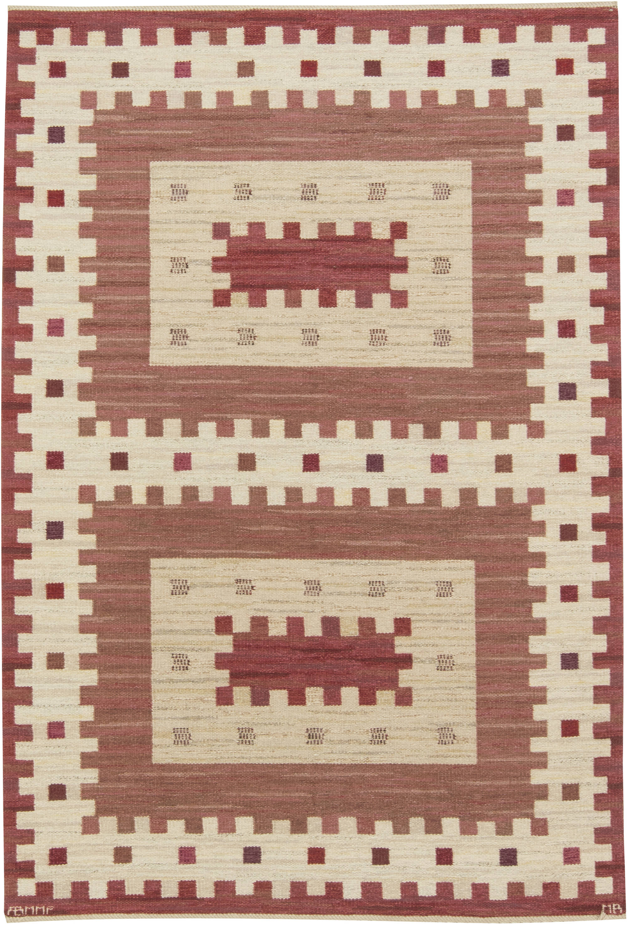 Vintage Rostaggen Swedish Flat Weave Rug by  Marianne Richter BB6425