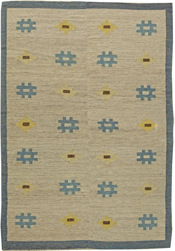 Vintage Swedish Flat Weave Rug BB6146