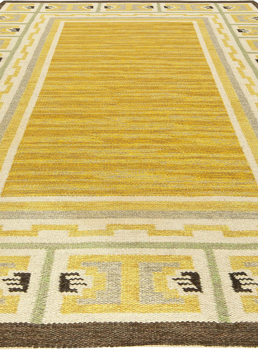 Midcentury Swedish Yellow and Brown Flat-Weave Wool Rug BB6156