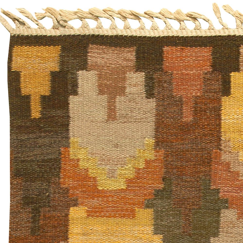 "Vintage Swedish Flat Weave Rug "" Bjorkhult"" by Judith Johansson BB6157"