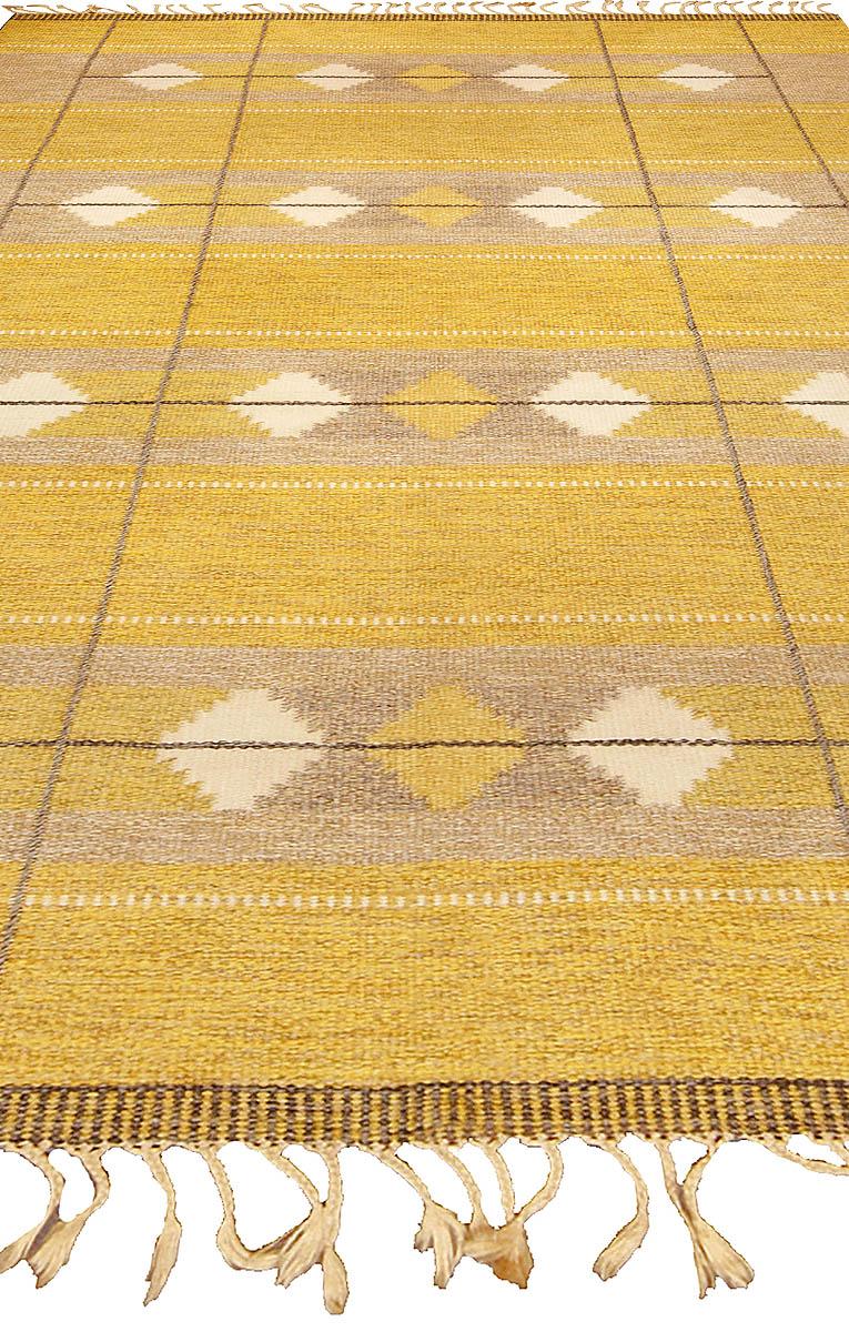 Vintage Swedish Yellow Flat-Weave Wool Rug BB4841