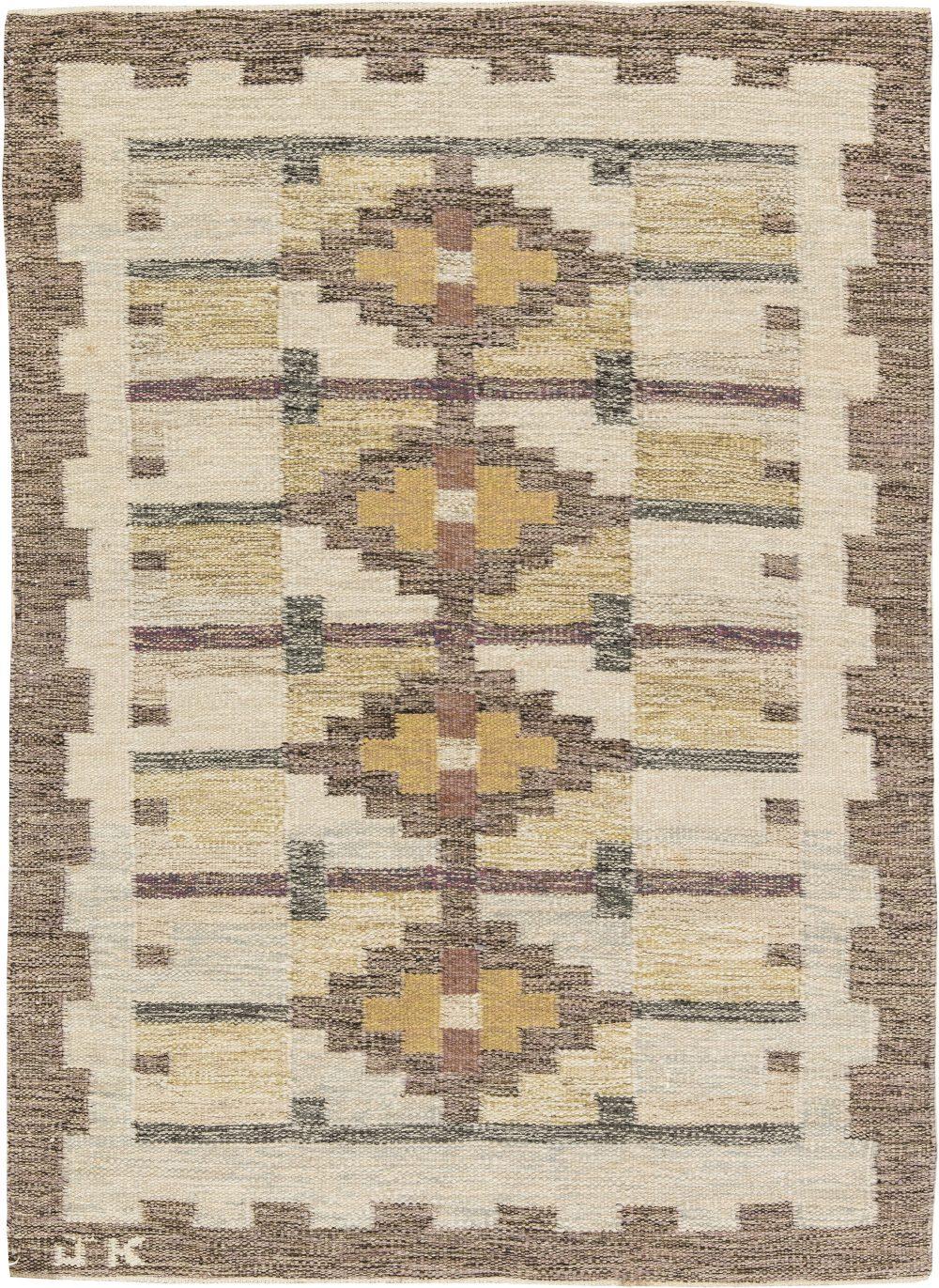 Vintage Swedish Flat Weave Rug BB6286