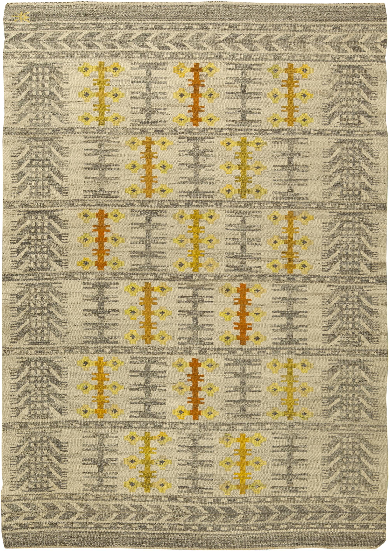 Vintage Swedish Flat Weave Rug Bb6150 By Dlb