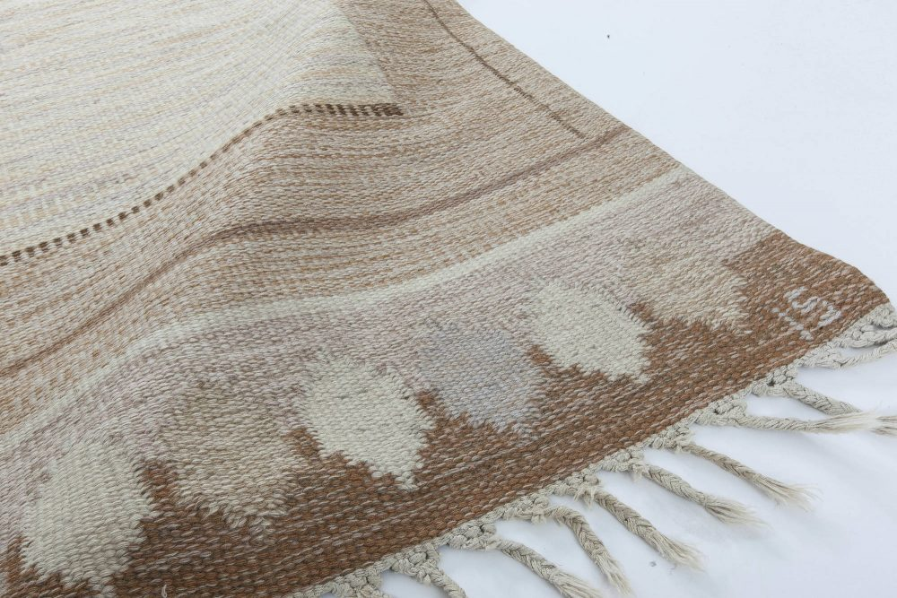 """Mid-Century Swedish Caramel Rug by Ingegerd Silow. Woven signature to edge """"IS"""" BB6314"""