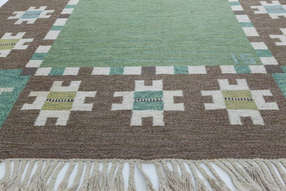 """Mid-Century Swedish Rug by Ingegerd Silow with Green, Brown, and Ivory Garden Design. Woven signature """"IS"""" BB6313"""