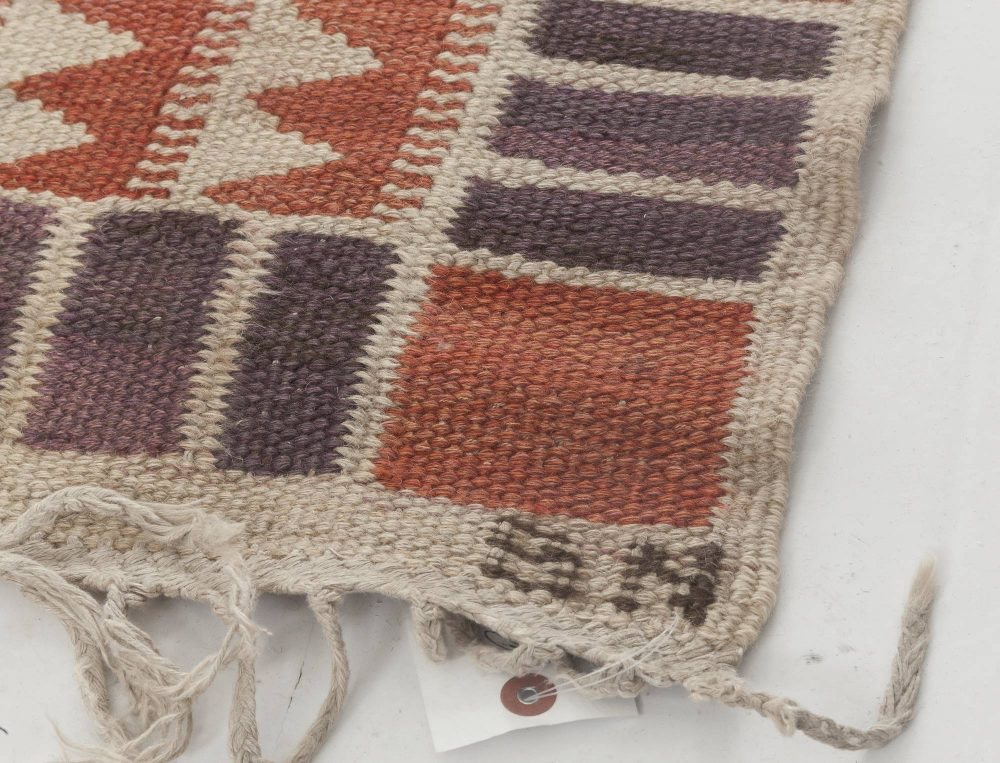 Vintage Swedish Salerno Red  flatweave carpet by Barbro Nilsson BB6438