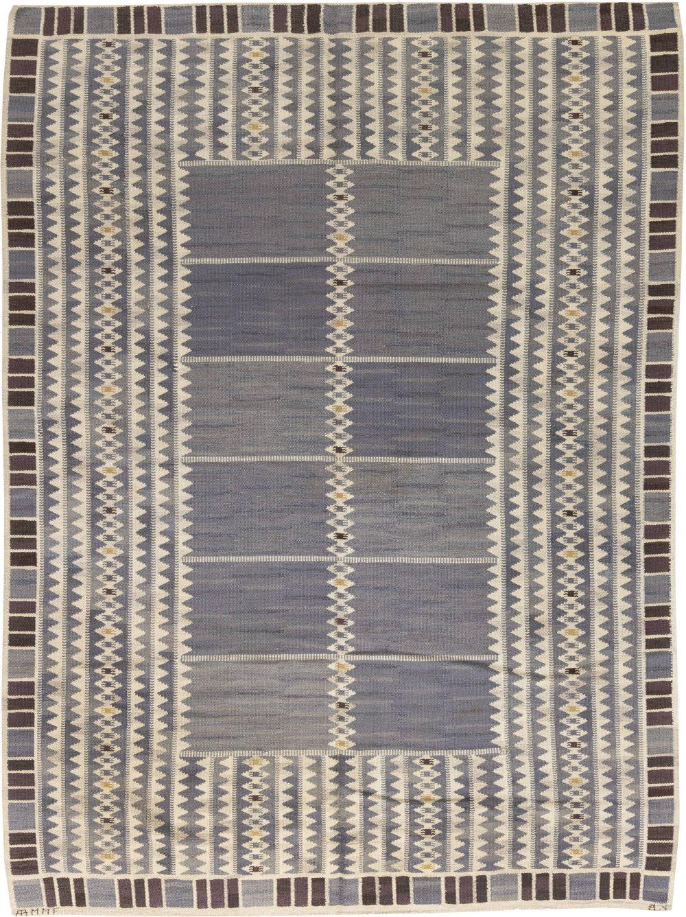 Vintage Swedish Salerno Blue flatweave carpet by Barbro Nilsson BB6465