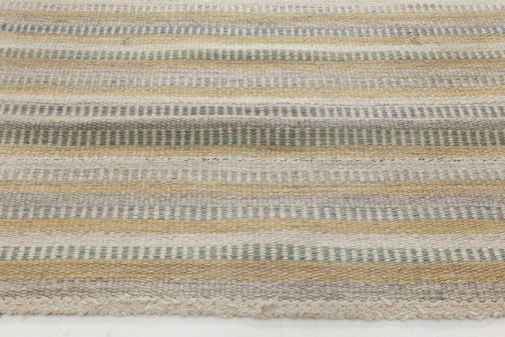 Vintage Swedish Gul randig med tvist flatweave carpet by Barbro Nilsson BB6445