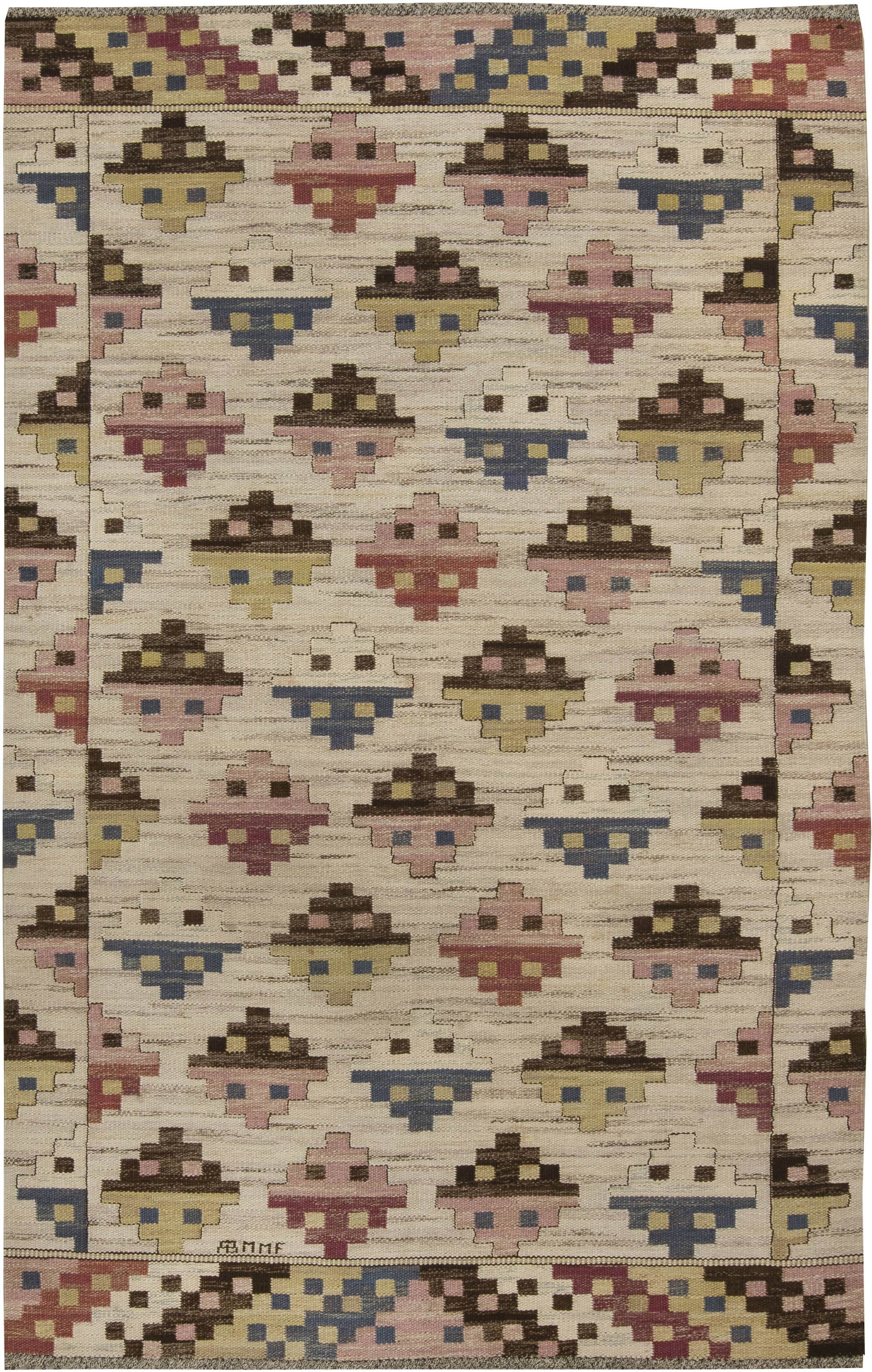 Vintage swedish flat weave rug by marta maas fjetterstrom bb6418
