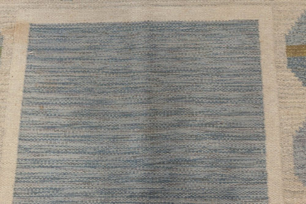 """Mid-Century Rug in Blue, Green, and Grey by Birgitta Solderkvist. Woven signature to edge """"BS"""" BB6559"""