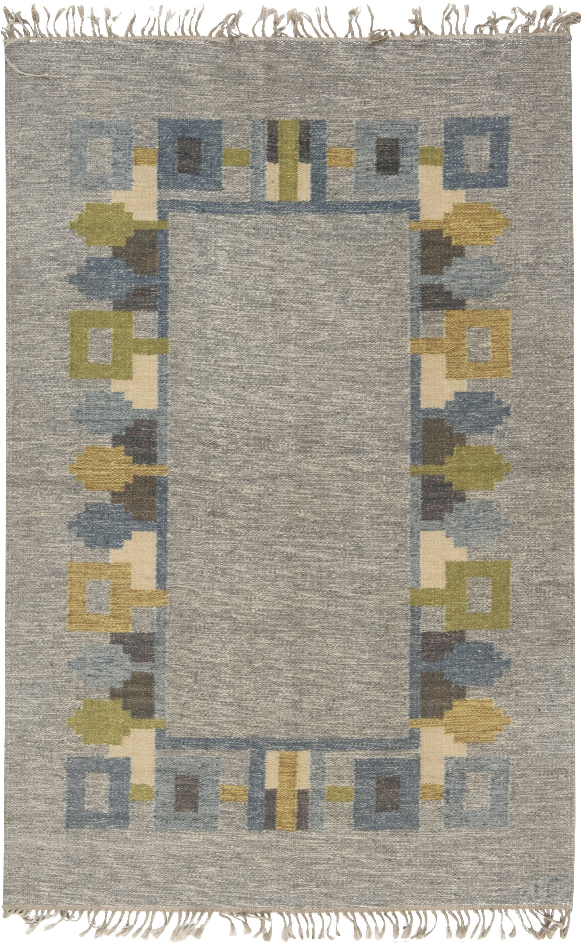 Vintage Swedish flat weave rug signed (JR) BB6564