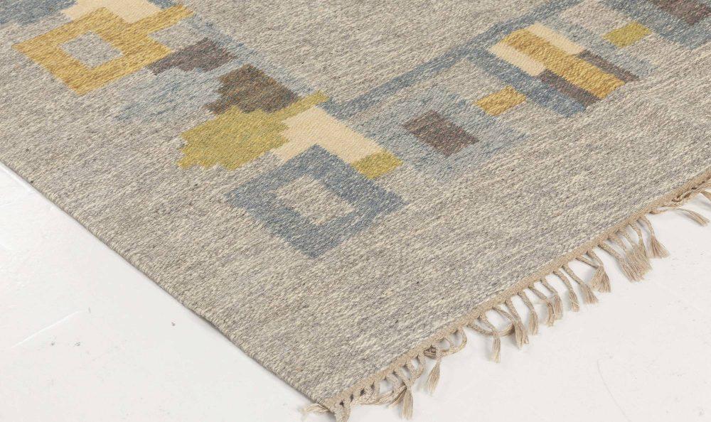 "Swedish Light Gray, Dusty Green and Mustard Flat-Weave Signed ""JR"" BB6564"