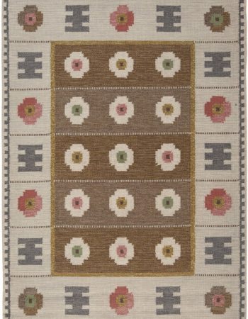 Vintage Swedish flat weave Rug Signed With Initials BH BB6560