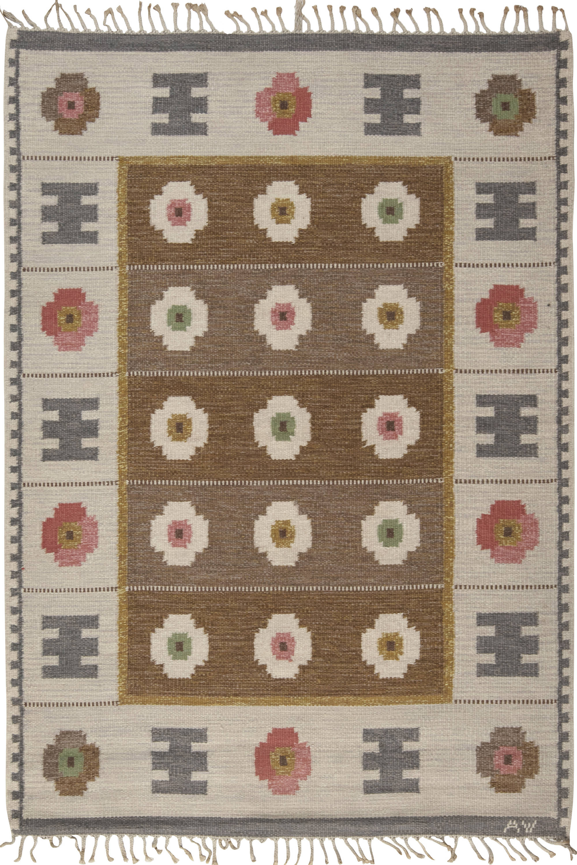 Vintage Swedish Flat Weave Rug Signed With Initials Bh