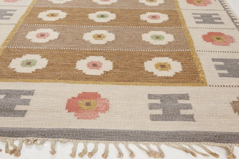 Midcentury Swedish Flat-Weave Wool Rug Signed With Initials WA BB6560