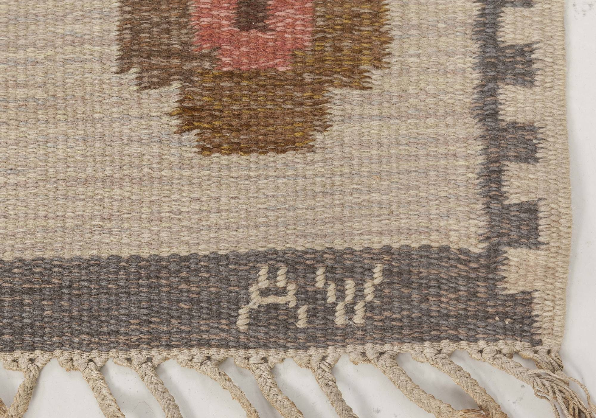 Midcentury Swedish Flat-Weave Wool Rug Signed With Initials WA BB6560