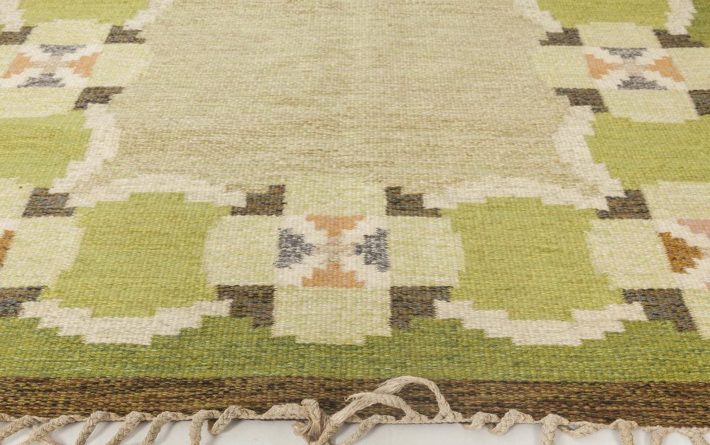 Vintage Swedish flat weave rug signed by Ingegerd Silow BB6567