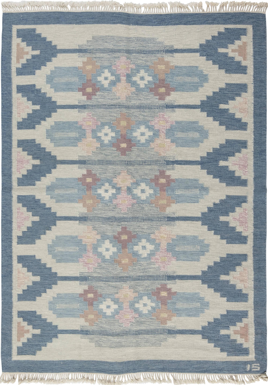 Vintage swedish flat weave rug signed by ingegerd silow bb6561