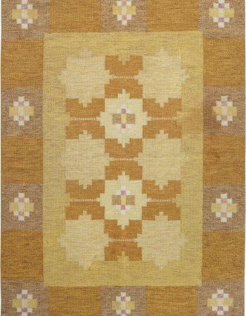 Vintage Swedish flat weave rug signed by Ingegerd Silow BB6562