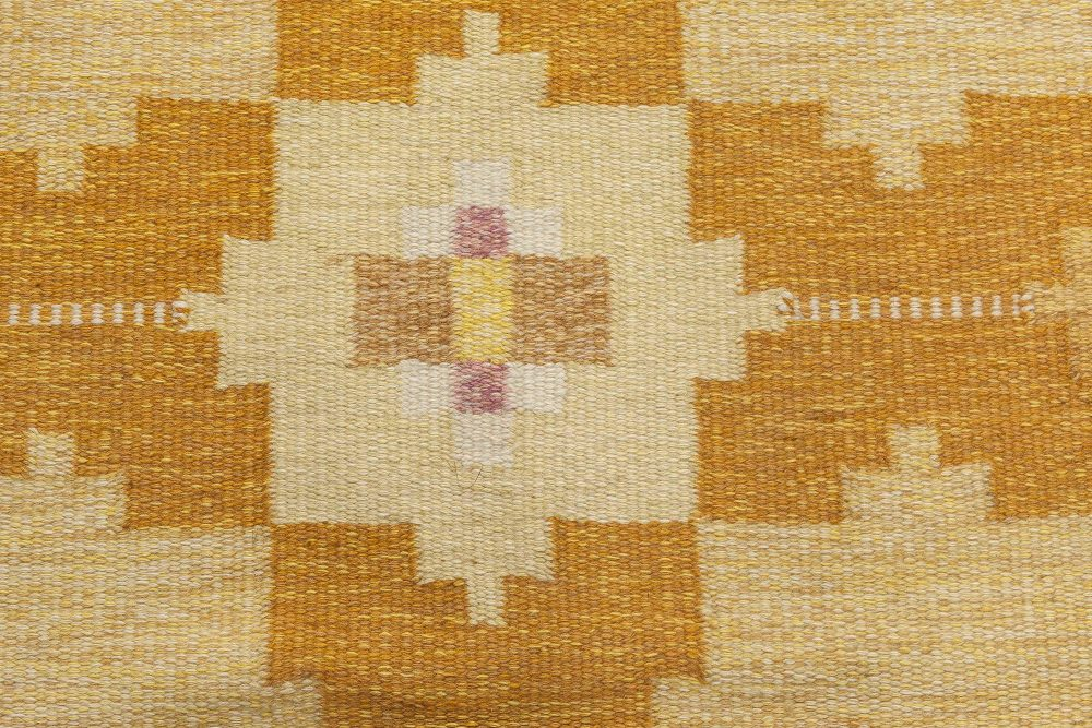 Hand-woven Swedish Rug in Shades of Gold and Amber by Ingegerd Silow BB6562