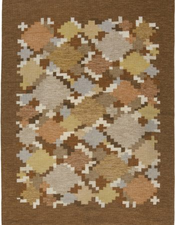 Vintage Swedish flat weave rug signed by Ingegerd Silow BB6568