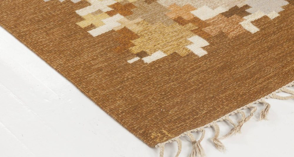 Swedish Flat-Weave Rug by Ingegerd Silow in Brown, Grey and Blue BB6568