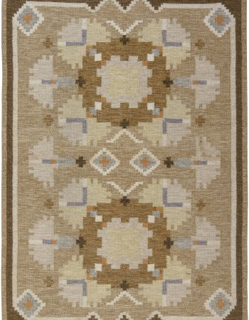 Vintage Swedish flat weave rug signed by Ingegerd Silow BB6575