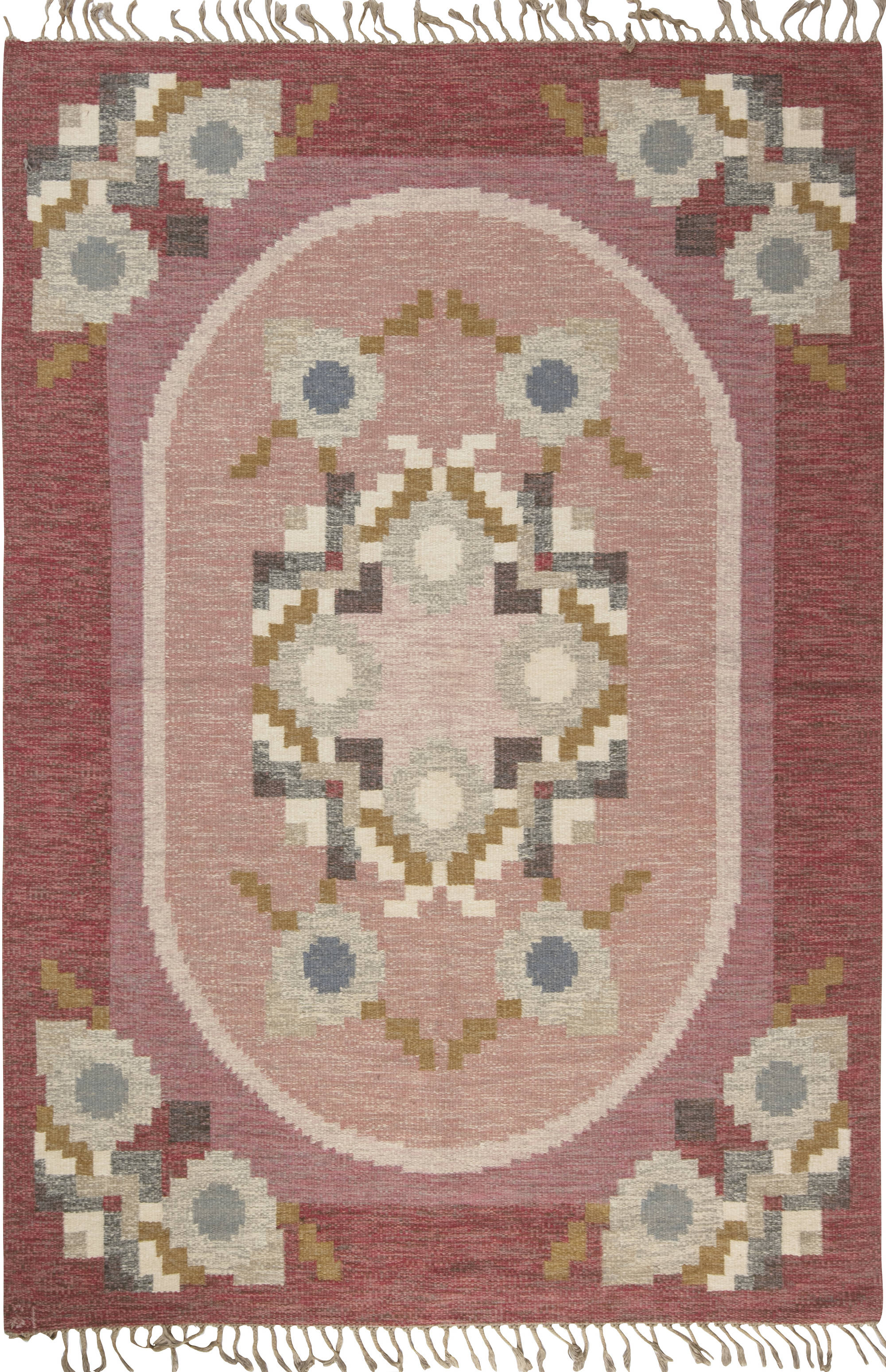 Vintage Swedish flat weave rug signed by Ingegerd Silow BB6557