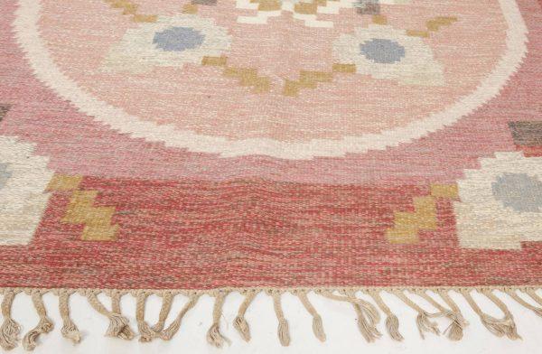Vintage Swedish flat weave rug signed by Ingegerd Silow BB6557