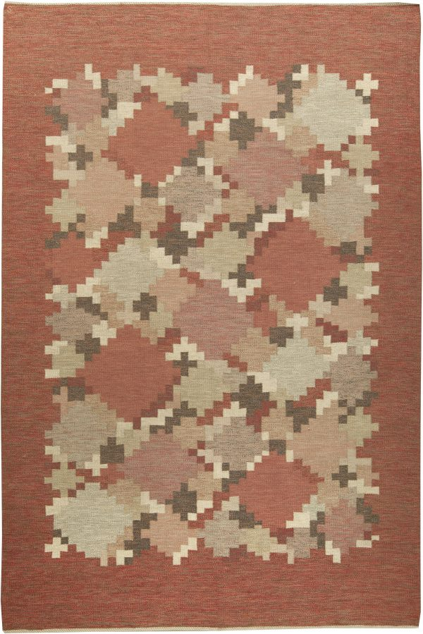Vintage Swedish Flat Weave Rug Signed by    Ingegerd Silow BB6160