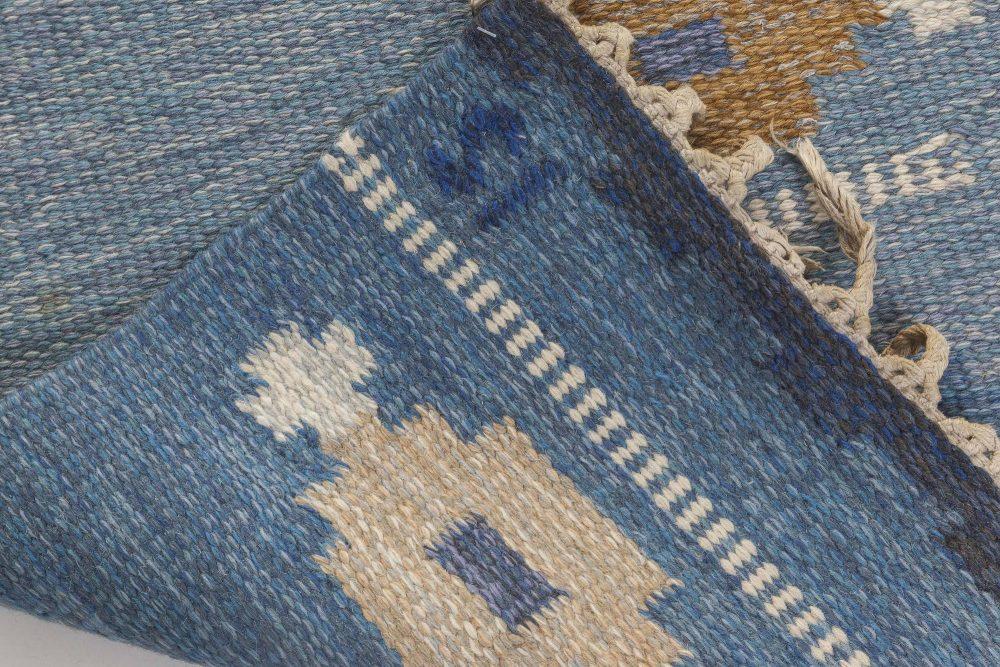 Vintage Swedish flat weave rug signed by Ingegerd Silow BB6547