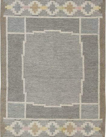 Vintage Swedish flat weave rug signed by Ingegerd Silow BB6555