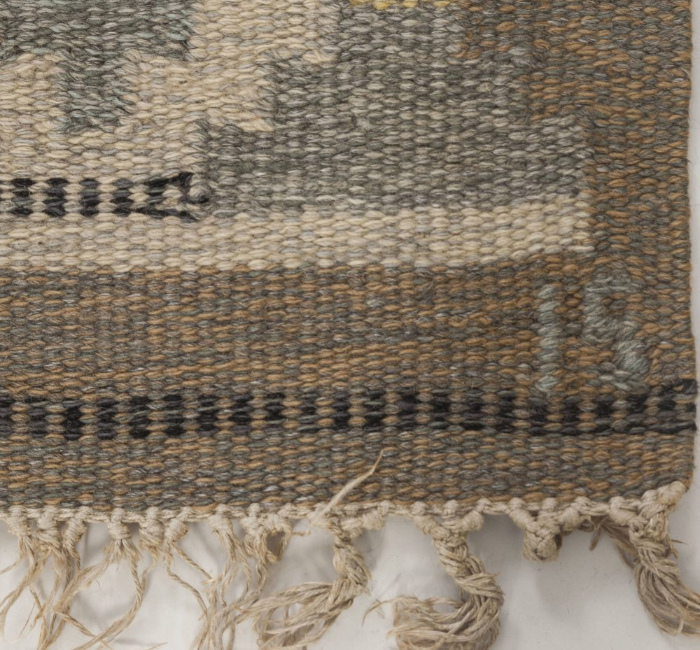 """Mid-Century Swedish Wool Rug in Neutral Colors by Ingegerd Silow. Woven signature to edge """"IS"""" BB6555"""